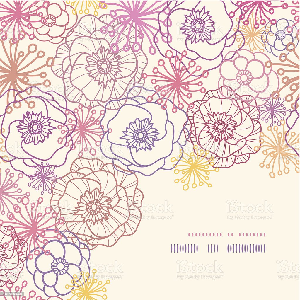 Subtle field flowers corner seamless pattern background royalty-free stock vector art
