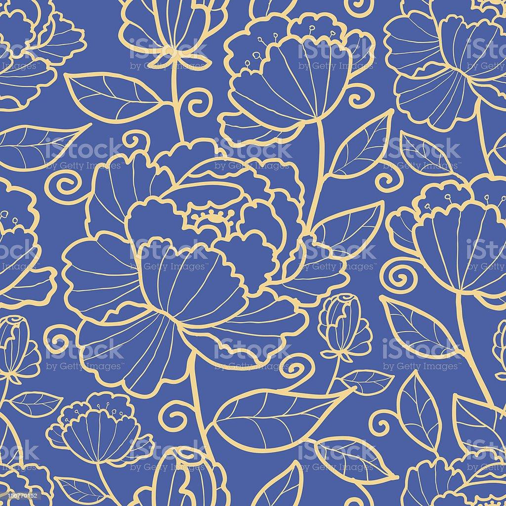 Subtle rose garden kimono oriental flowers seamless pattern royalty-free stock vector art