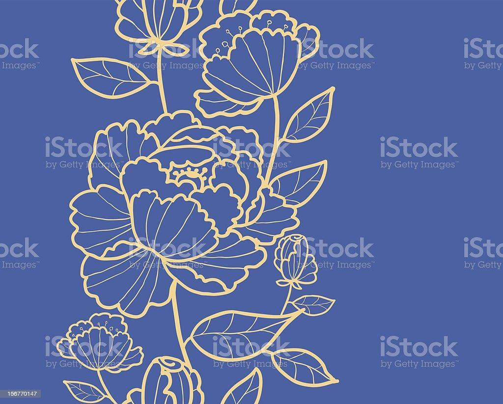 Subtle rose garden kimono oriental flowers vertical seamless pattern royalty-free stock vector art