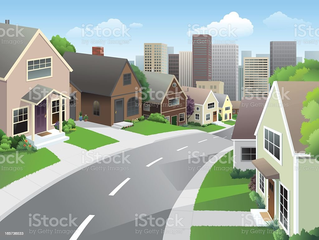 Suburb and City vector art illustration
