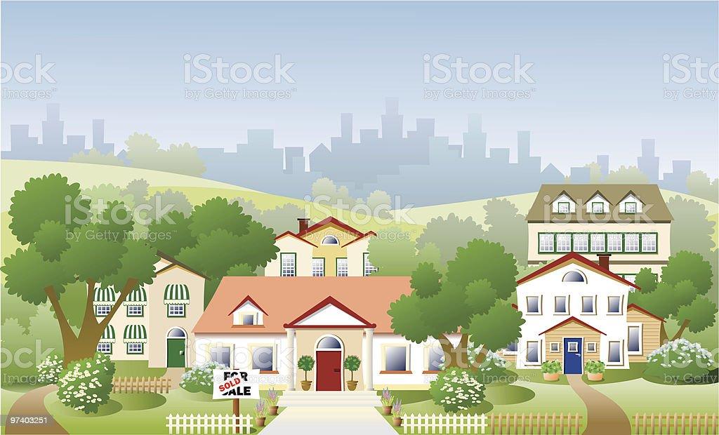 Suburb neighbourhood vector art illustration