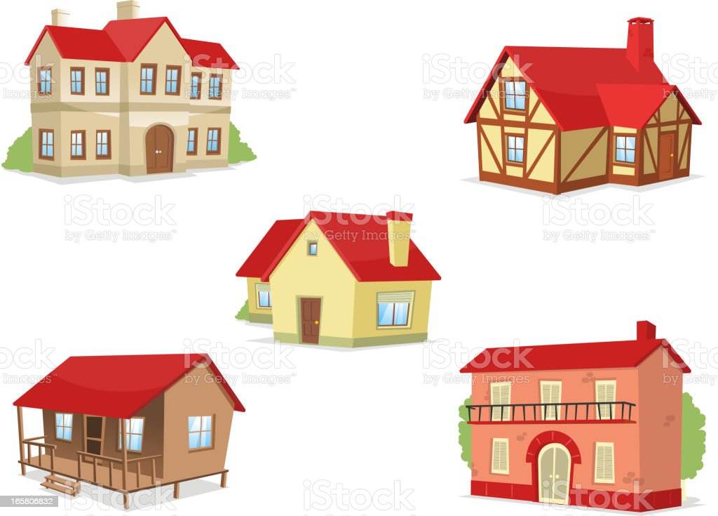 Suburb residential house townhouse villa set 1 royalty-free stock vector art