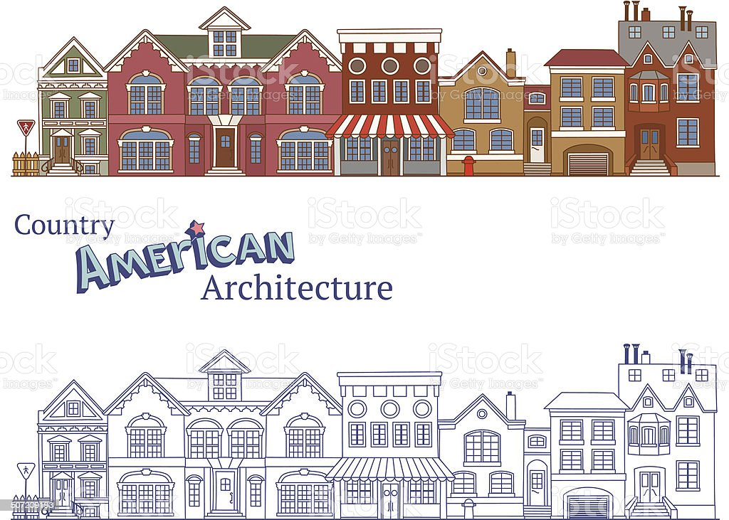 Suburban American Architecture vector art illustration