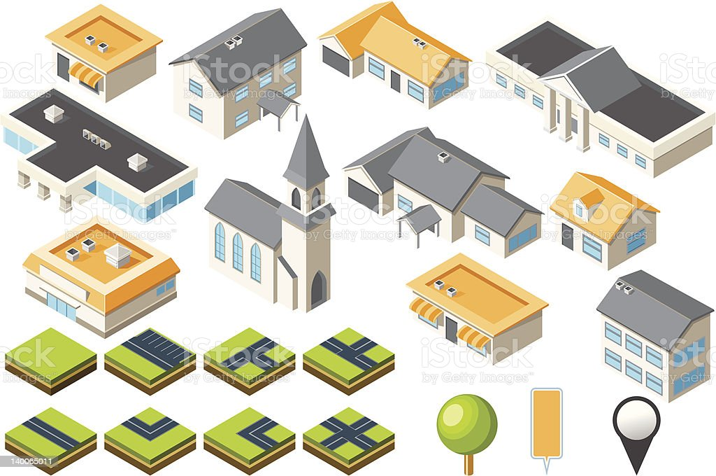 Suburban community isometric city kit vector art illustration