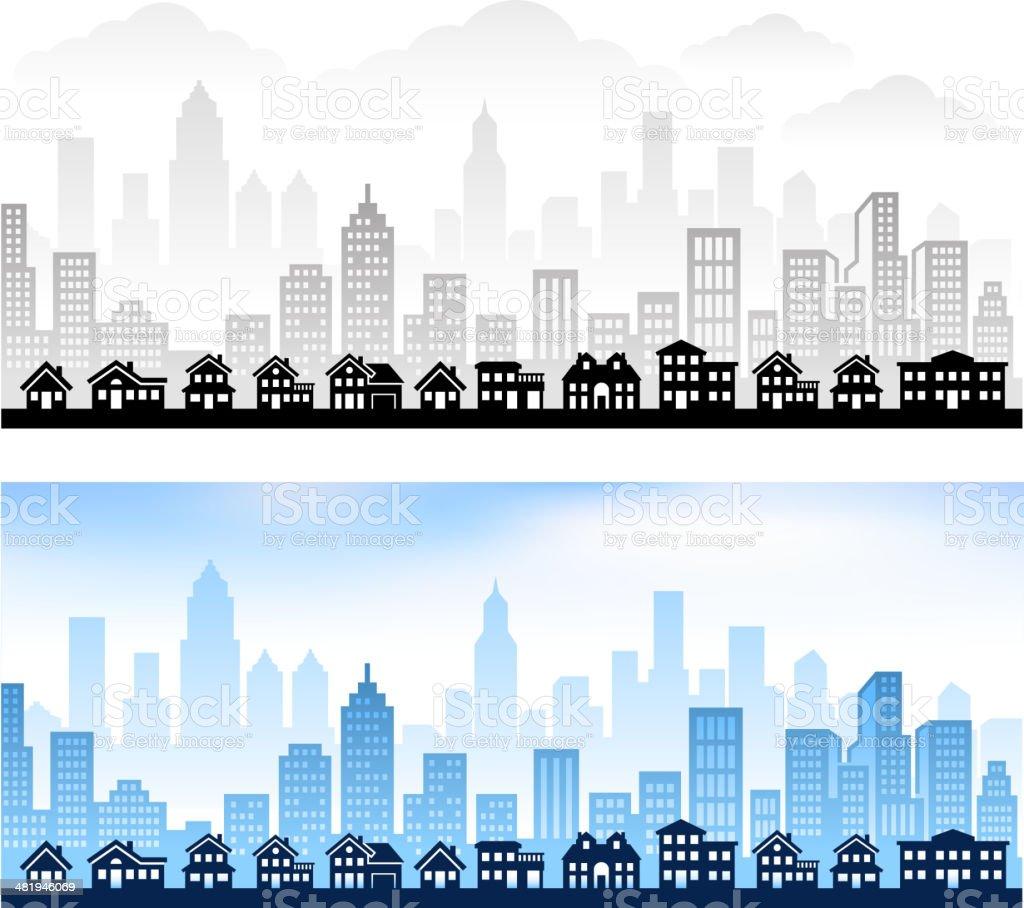 Suburban Community with City Skyline vector art illustration