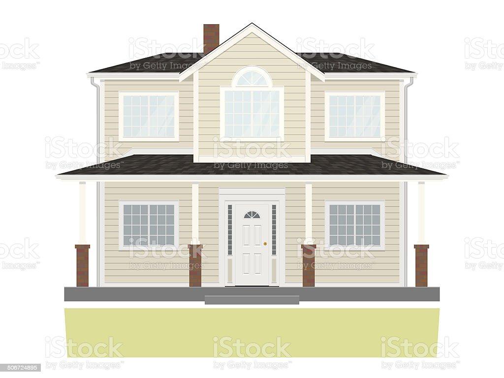 Suburban Family Home Vector Illustration vector art illustration