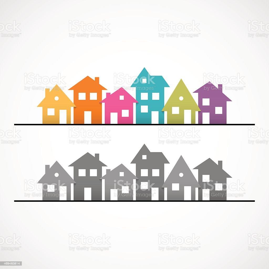 Suburban homes icon vector art illustration