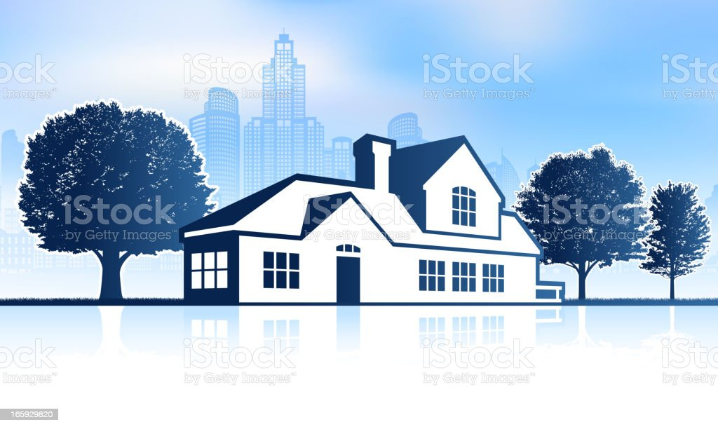 Suburban House with City skyline panoramic Background royalty-free stock vector art