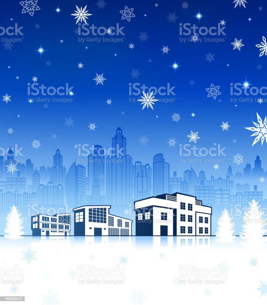 Suburban House with City skyline panoramic on Holiday Winter Background royalty-free stock vector art