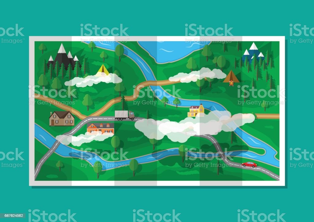 Suburban paper nature map. GPS and navigation vector art illustration