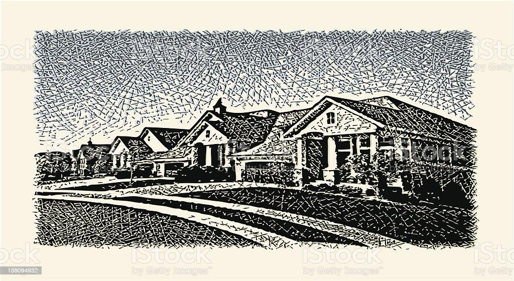 Suburban Street vector art illustration