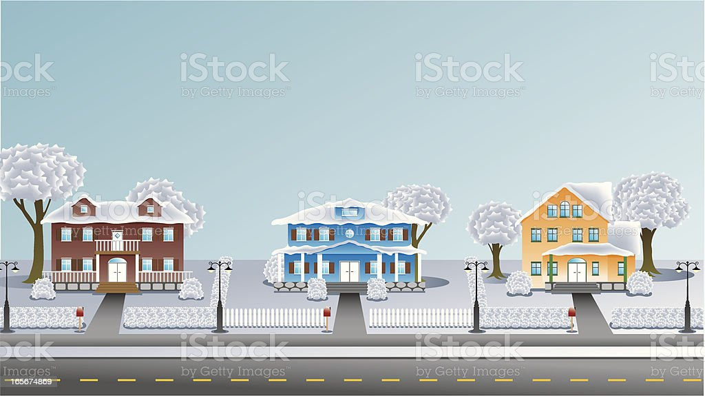 Suburbia - Houses in winter vector art illustration