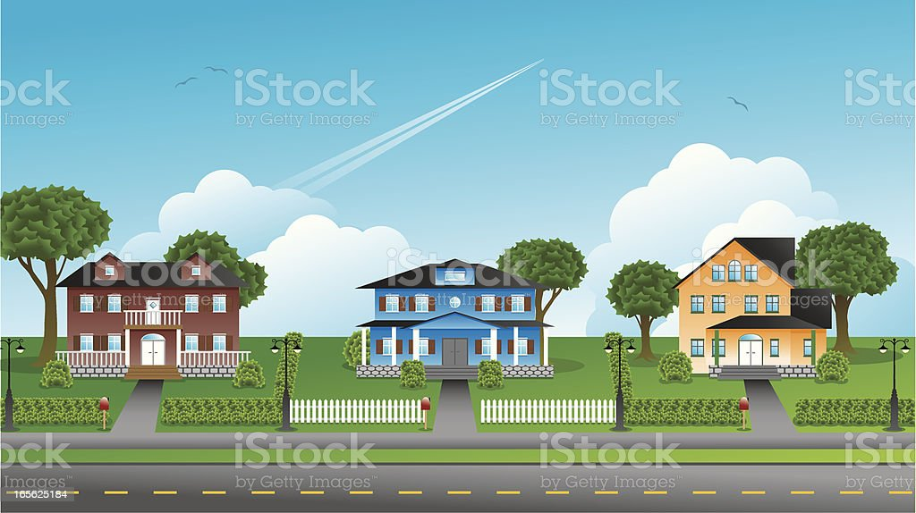 Suburbia - Houses vector art illustration
