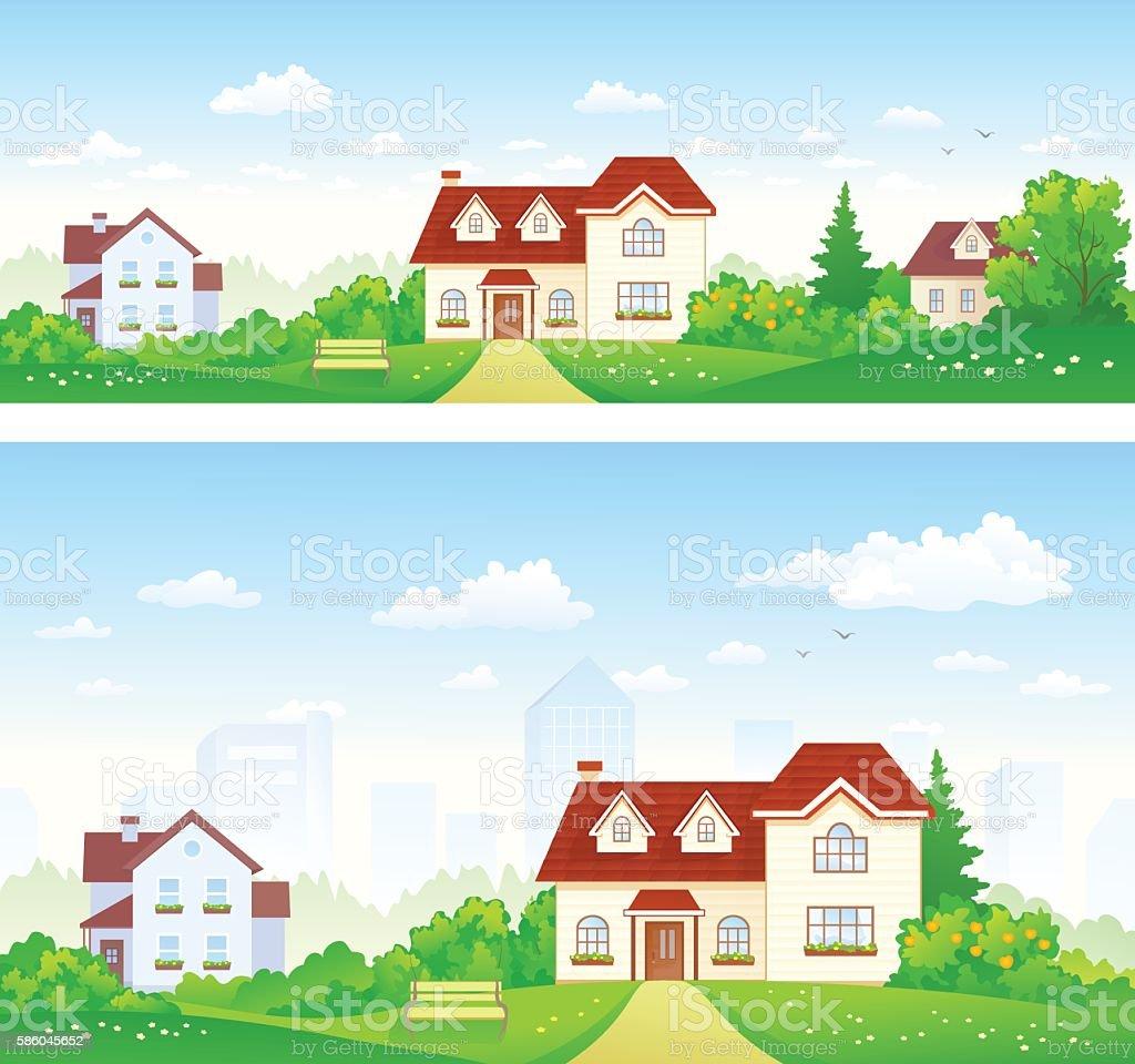 Suburbs panoramas vector art illustration