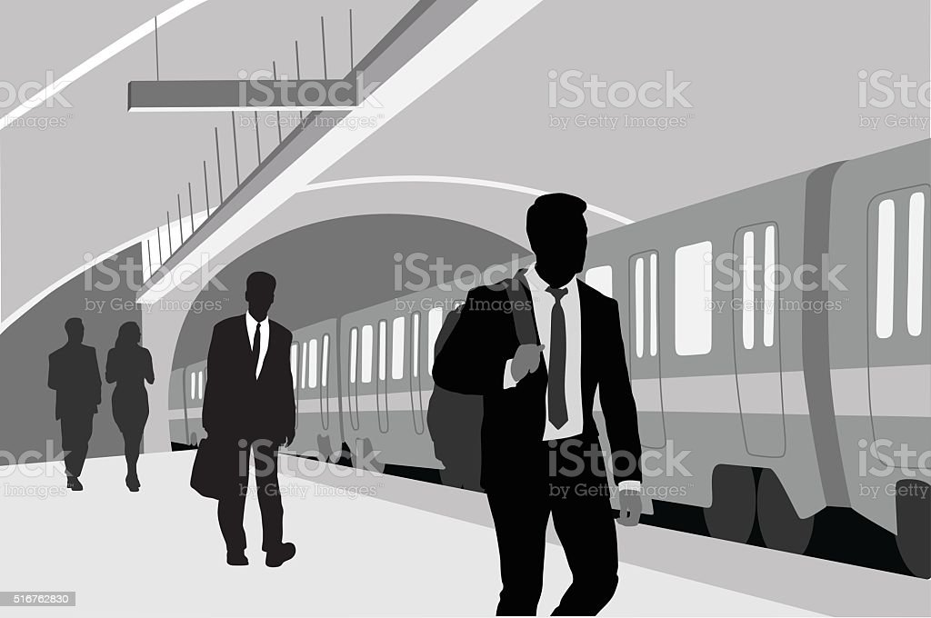 Subway Business Man vector art illustration