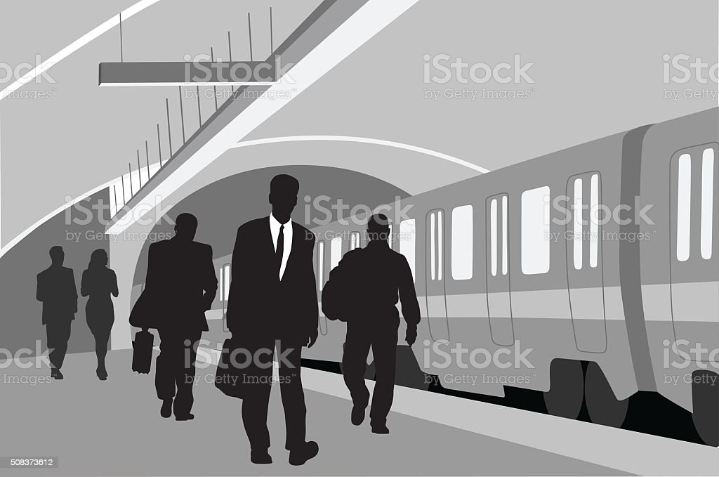 Subway  Business People vector art illustration