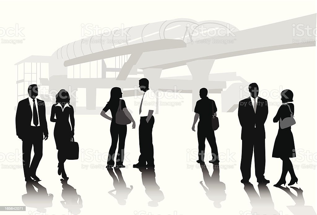 Subway Business People Vector Silhouette royalty-free stock vector art