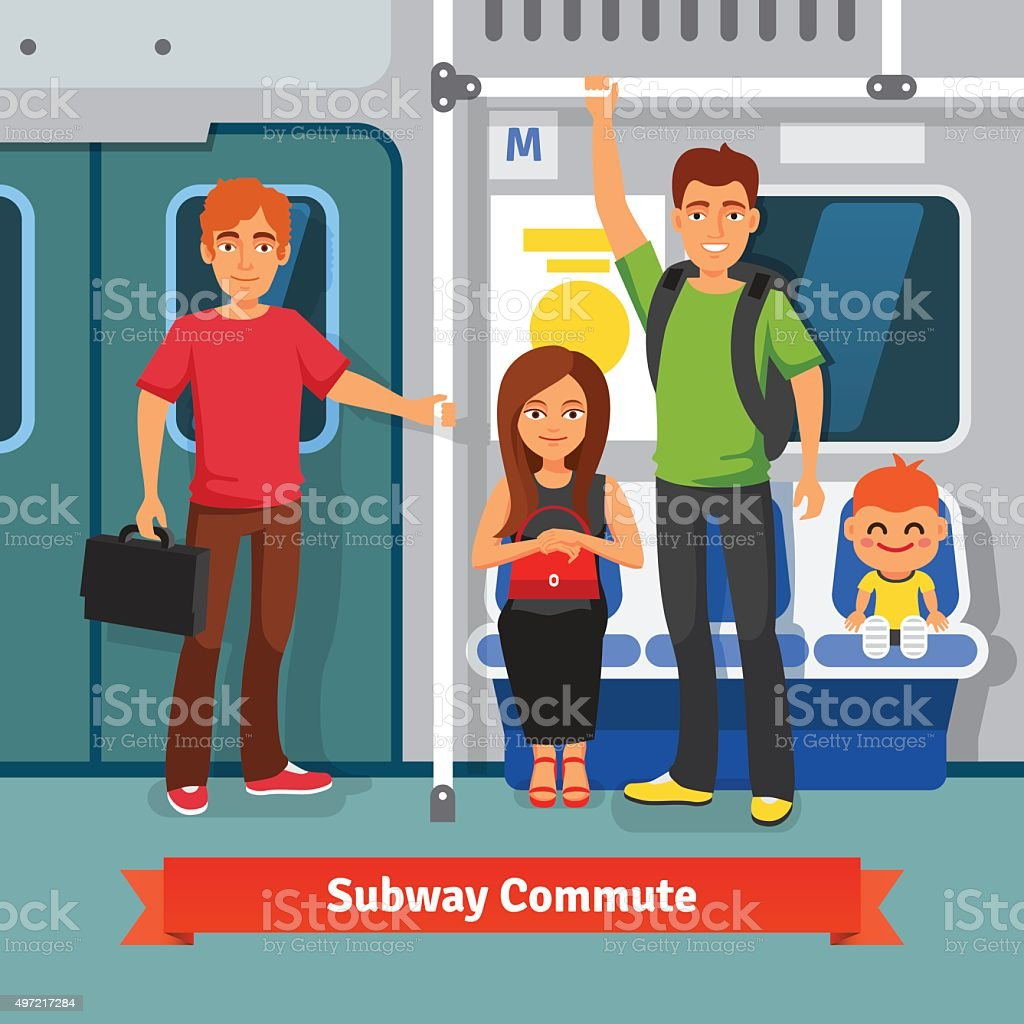 Subway commute. People sitting, standing in train vector art illustration