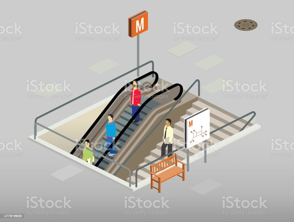 subway entrance vector art illustration