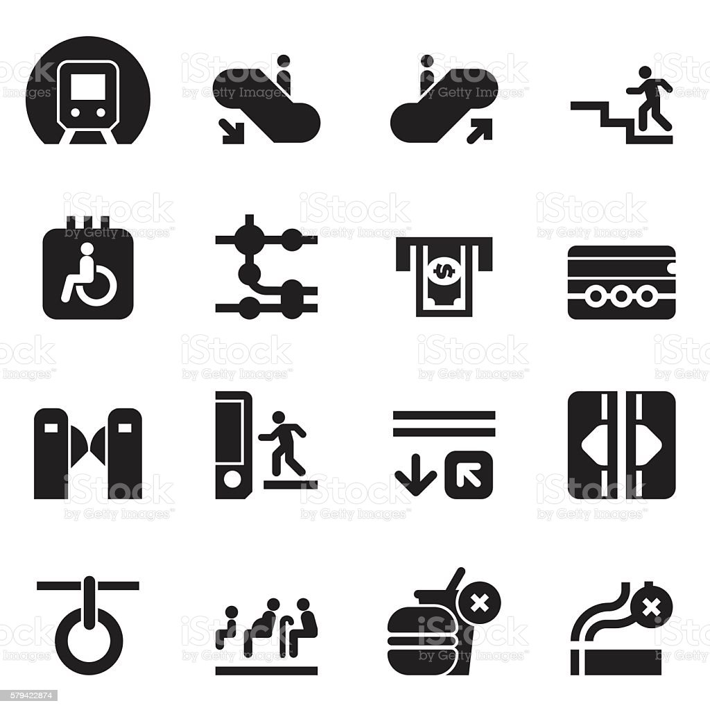Subway Icons [Black Edition] vector art illustration