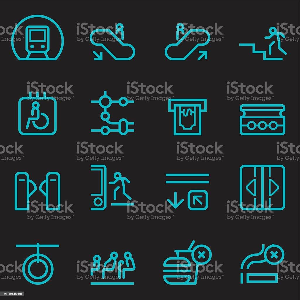 Subway Icons [Glow in the Dark] vector art illustration