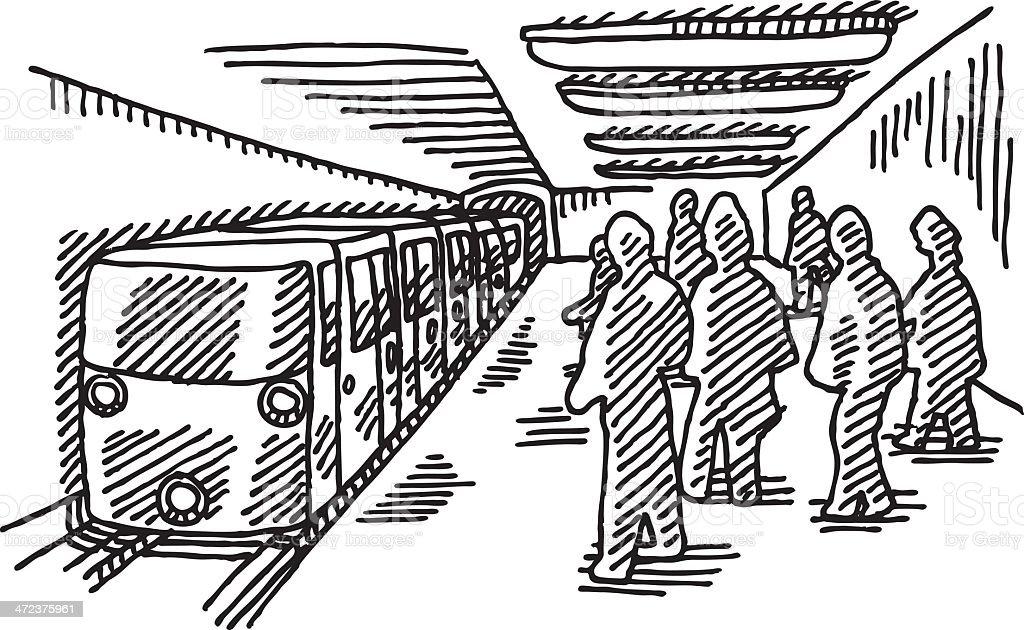 Subway Public Transportation Drawing stock vector art