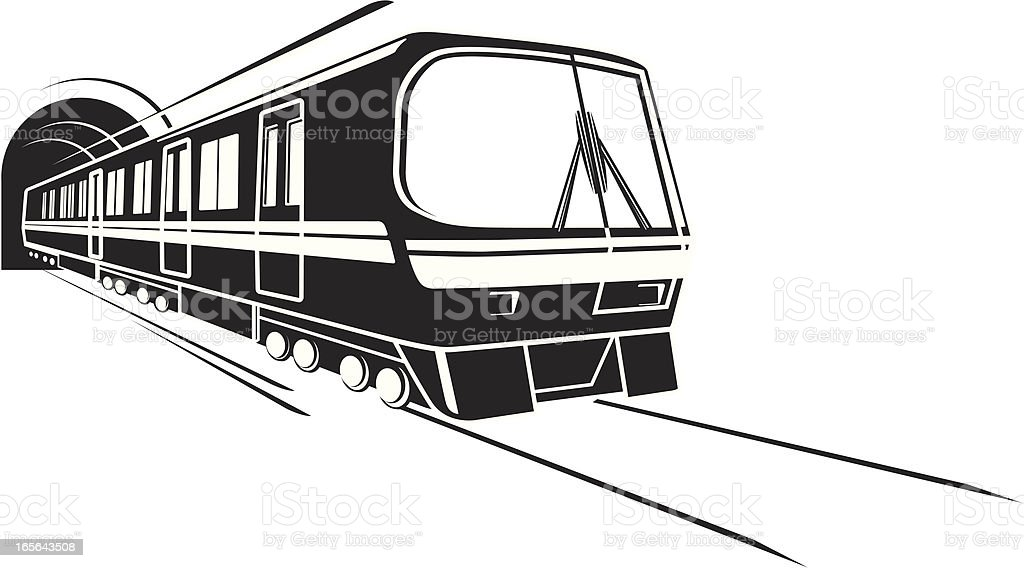 Subway rail vector art illustration