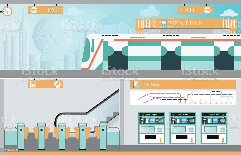 Subway railway interior. vector art illustration