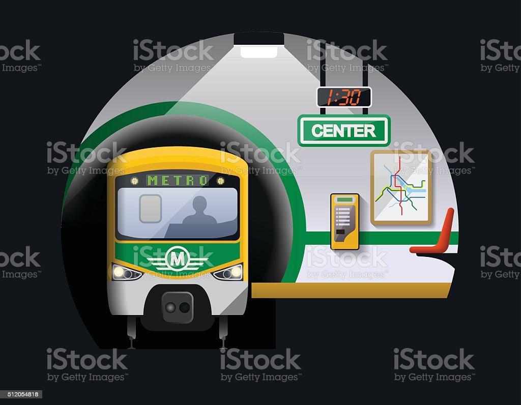 Subway station vector art illustration