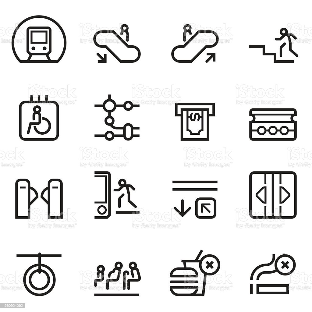 Subway Thin Line Icons vector art illustration