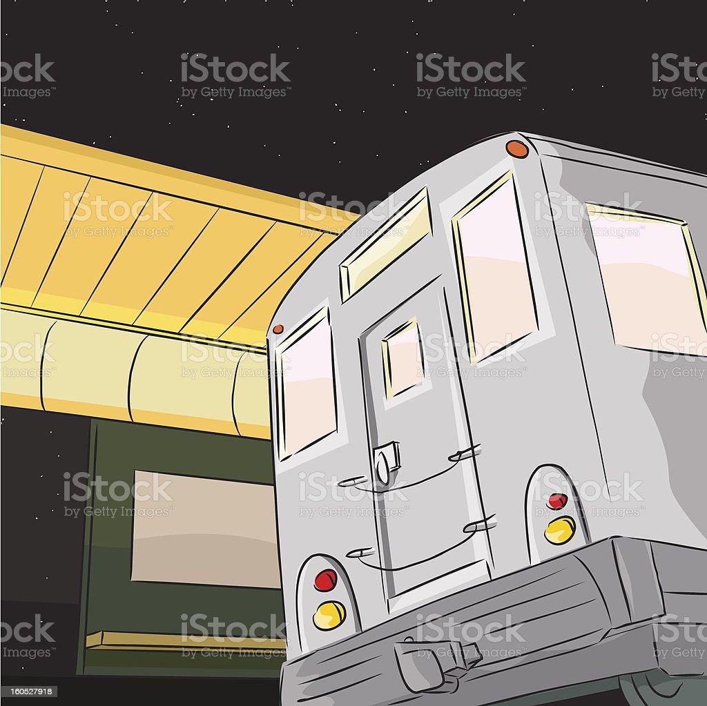 Subway Train at Night royalty-free stock vector art
