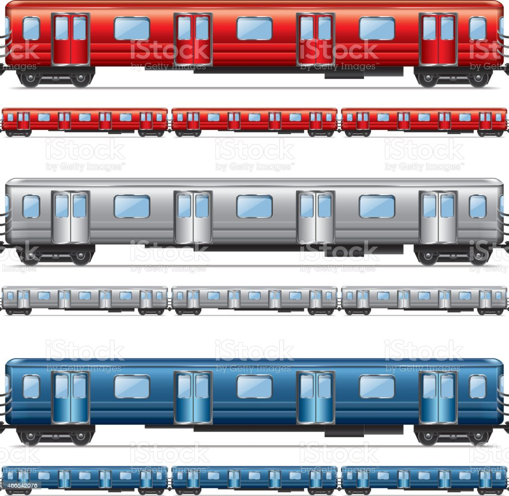 Subway train set isolated on white vector vector art illustration