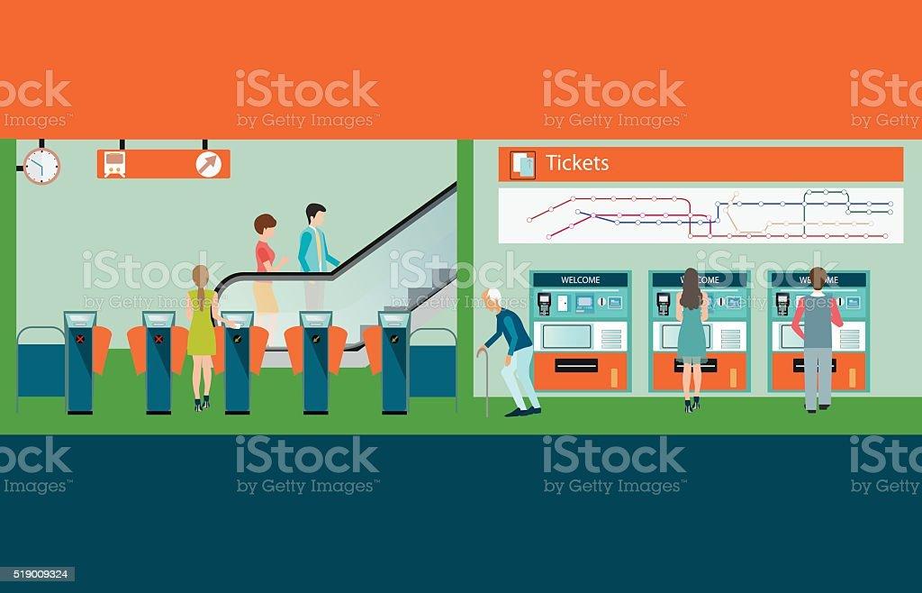 Subway train station platform with people buying train ticket. vector art illustration