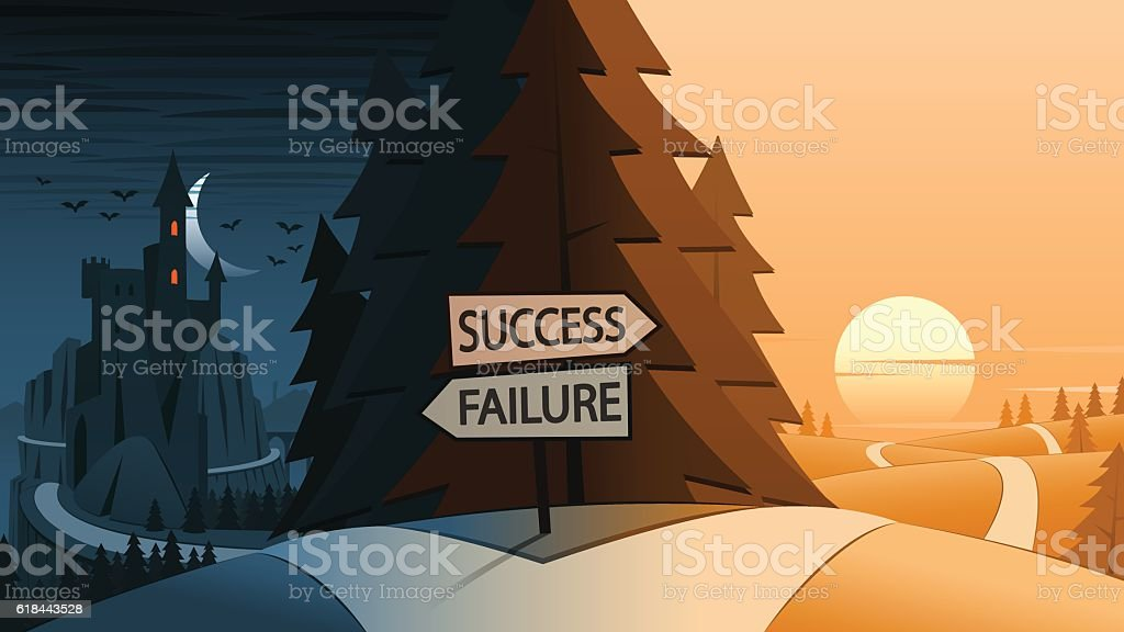 Success and Failure Decision Making Road Junction Concept vector art illustration