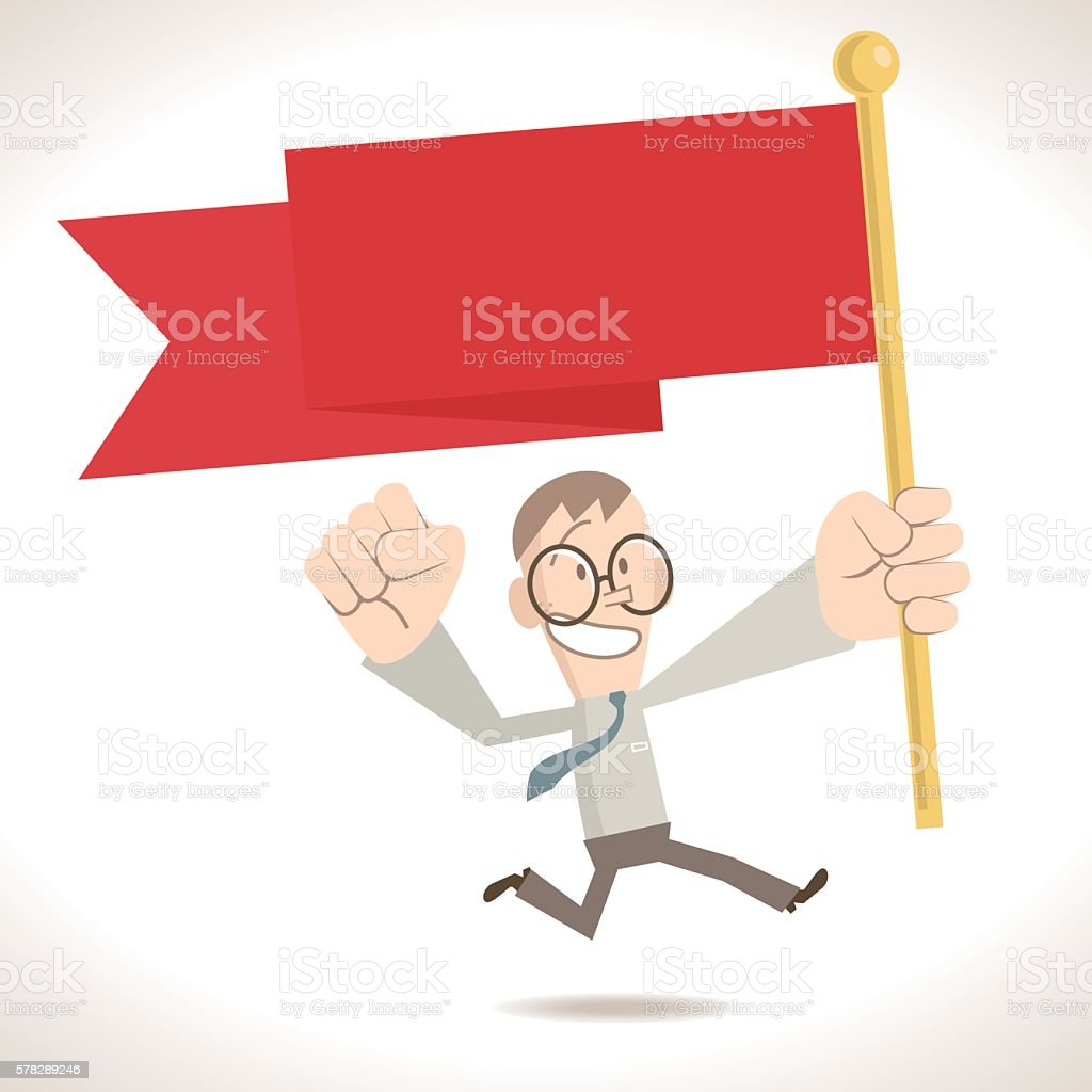 Success businessman running and holding (waving) a red flag vector art illustration