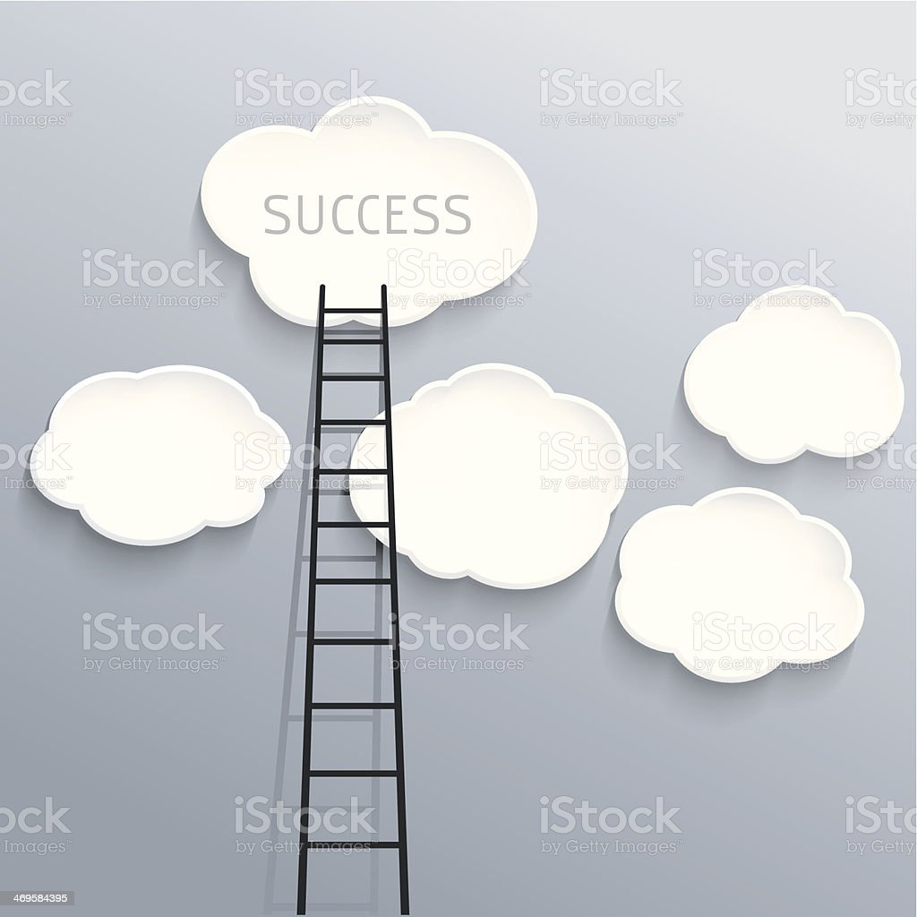 Success concept, clouds with ladder vector art illustration