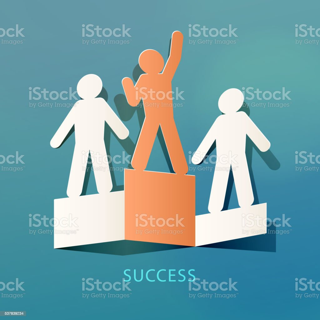 Success Concept Paper Cut vector art illustration