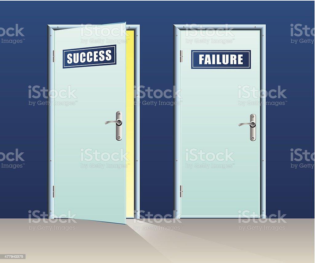 Success door open and failure close royalty-free stock vector art