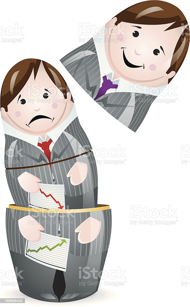 Success, Failure Nesting Business Man Doll vector art illustration