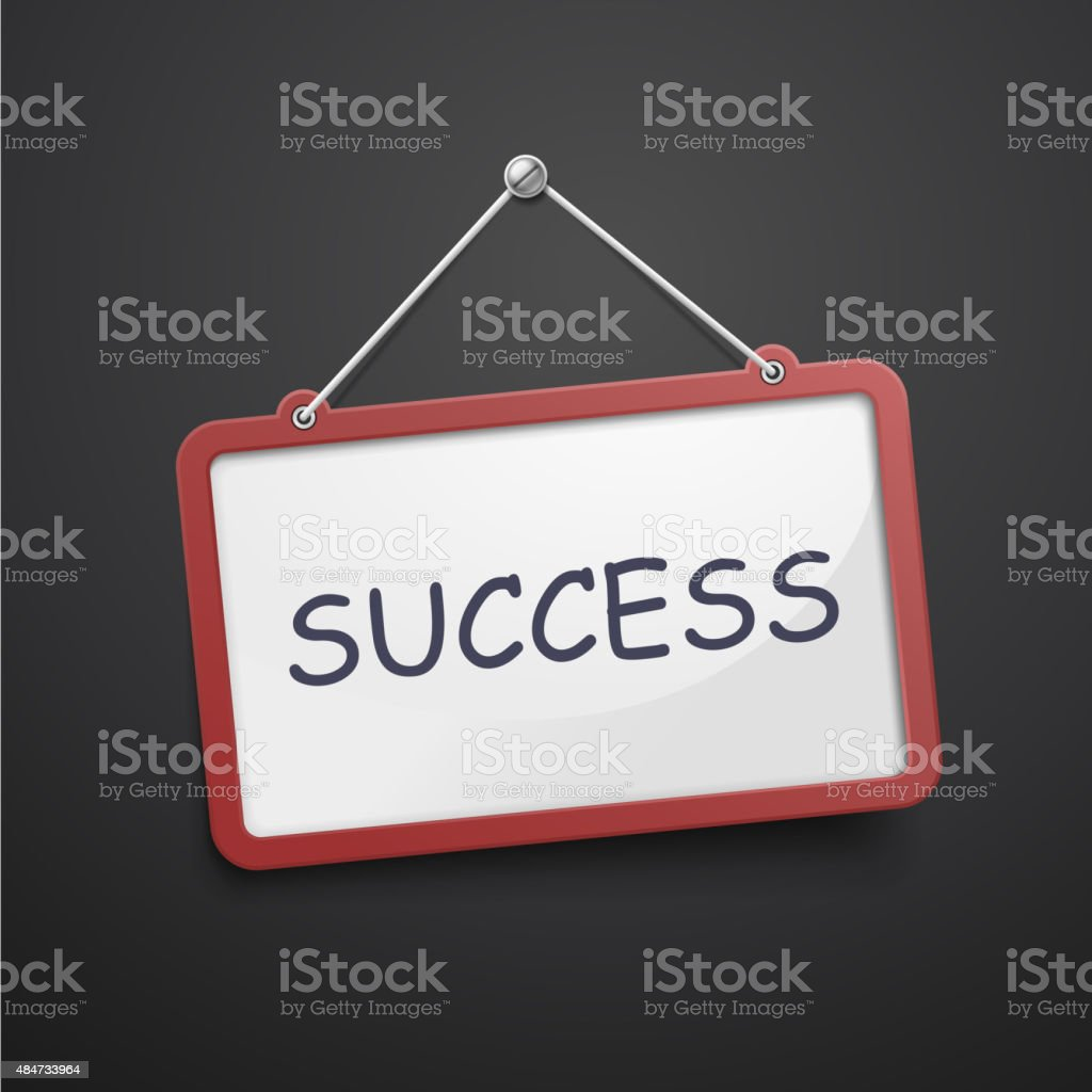 success hanging sign vector art illustration