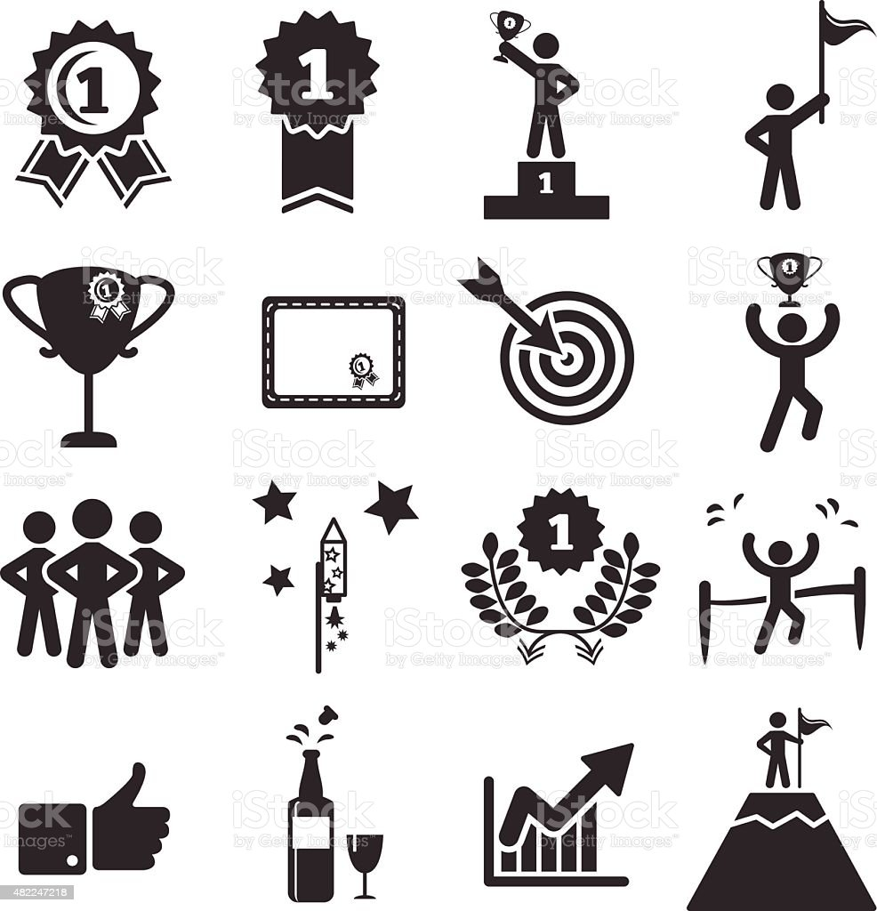 success icon set vector art illustration