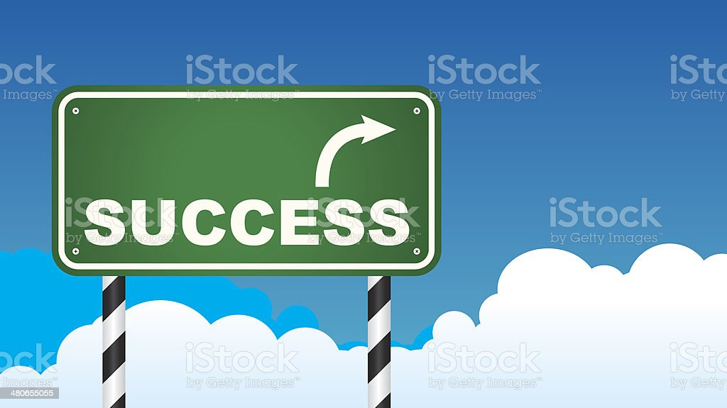 Success Road Sign vector art illustration