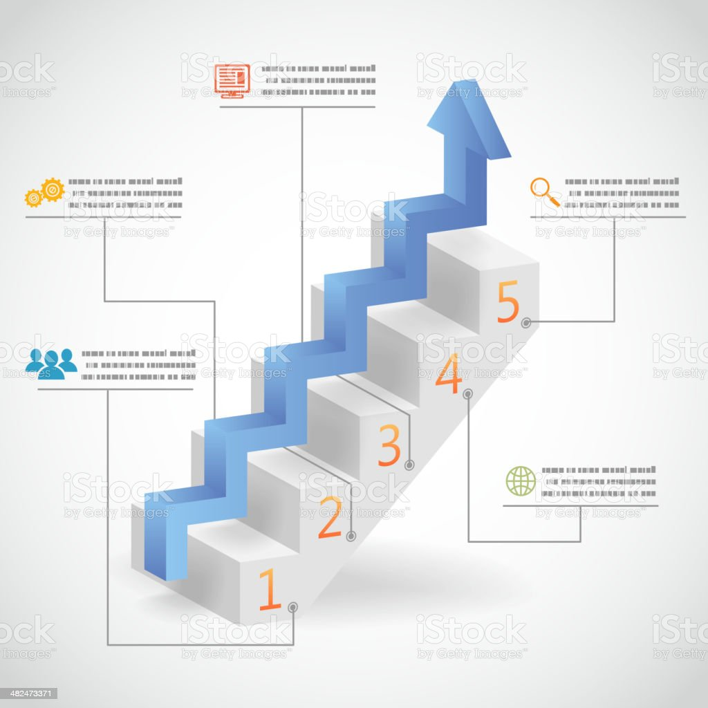 Success Steps Concept Arrow and Staircase Infographic Icons Vector Illustration vector art illustration