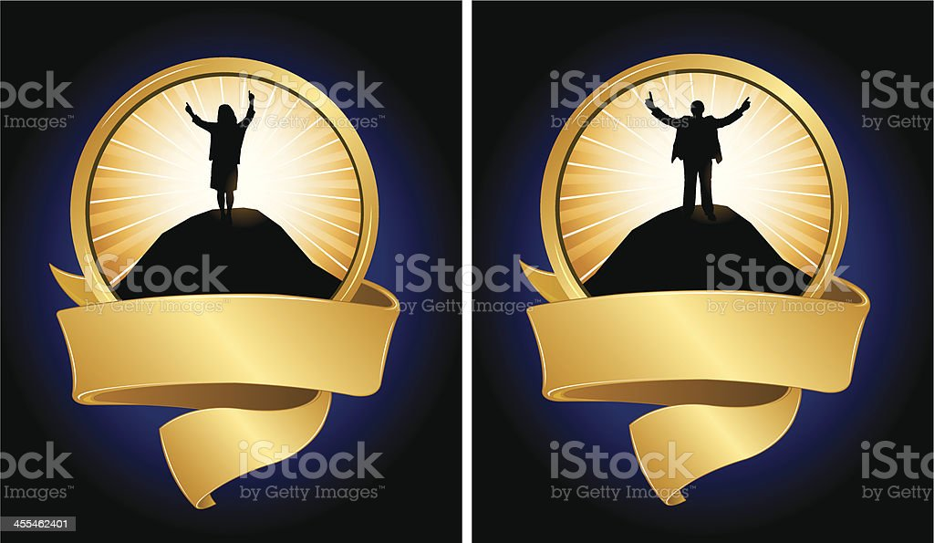 Success Victory Business People with Banner royalty-free stock vector art