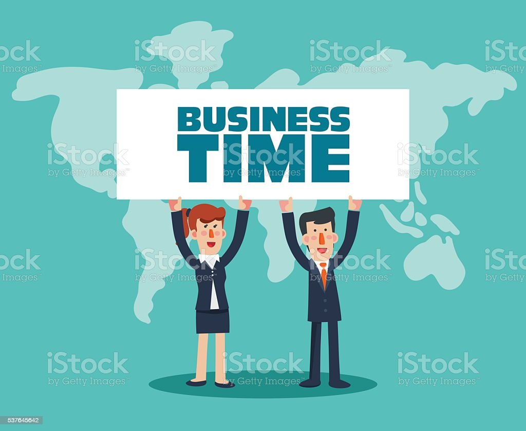 Successful business man and business woman with a white placard vector art illustration