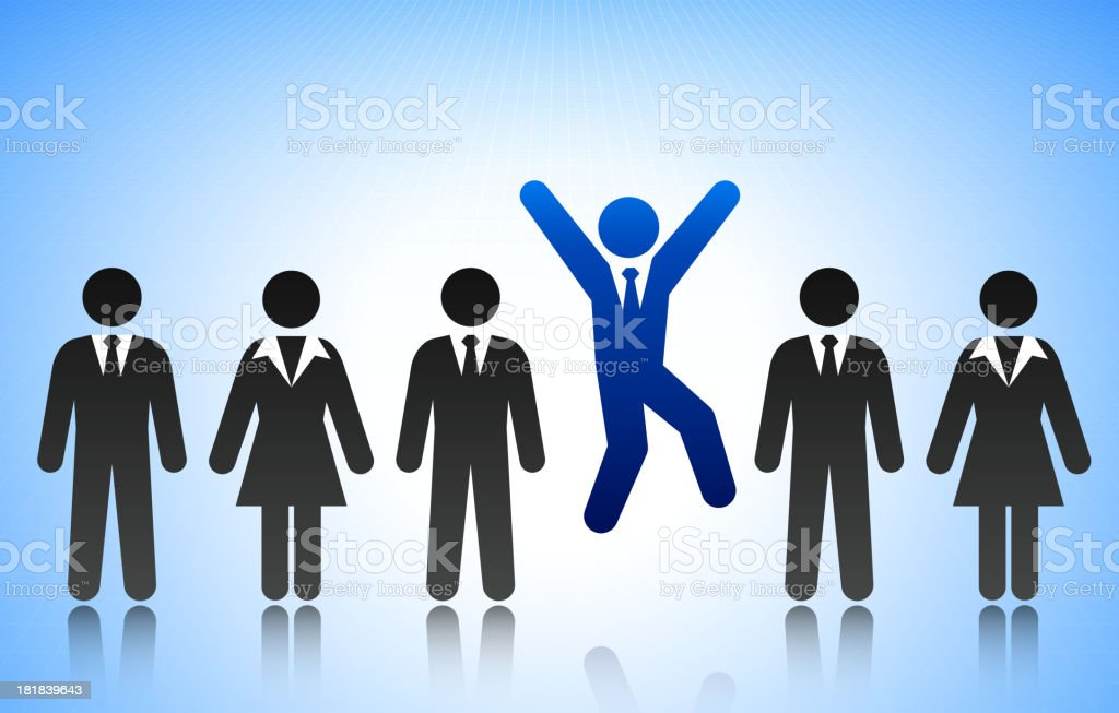 Successful Business Man Concept Stick Figure vector art illustration