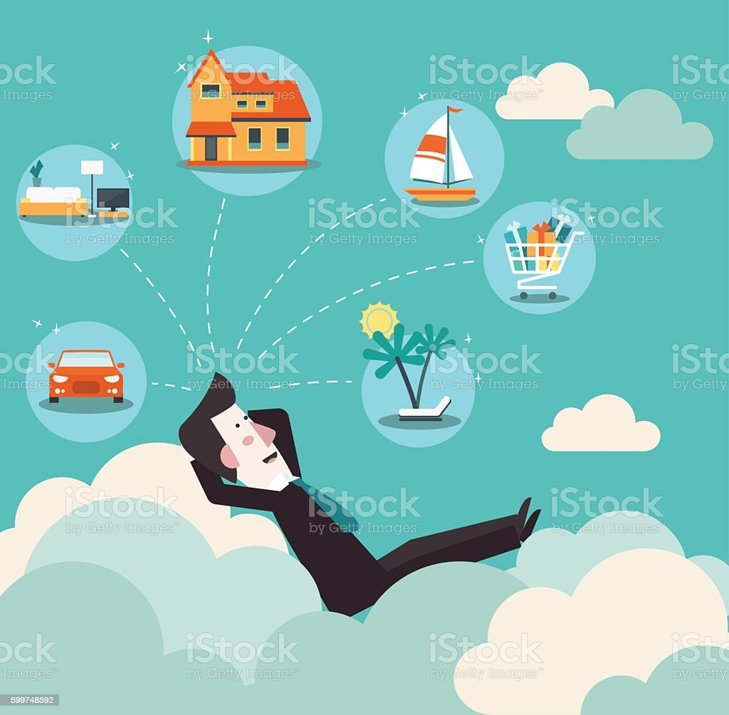 Successful business man relaxing on clouds and dreaming about house vector art illustration
