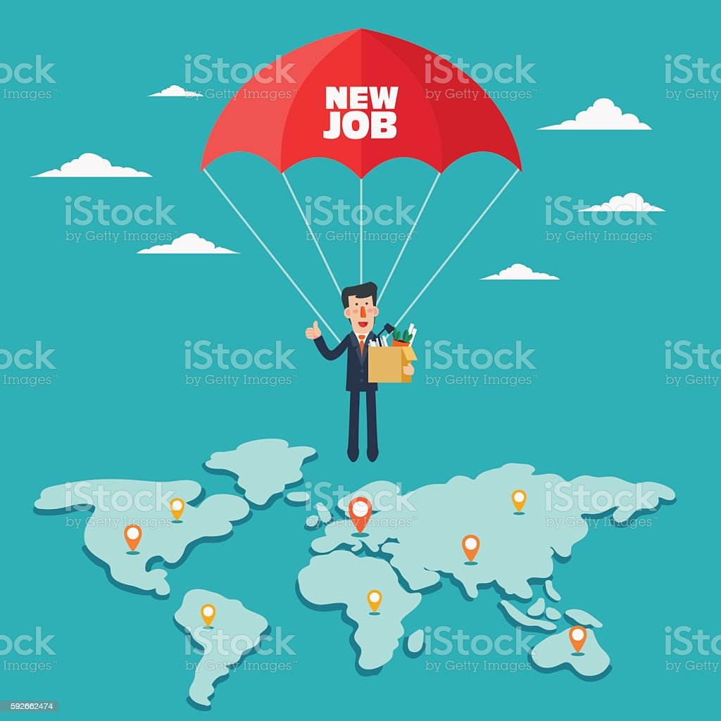 Successful business man with parachute over world map vector art illustration