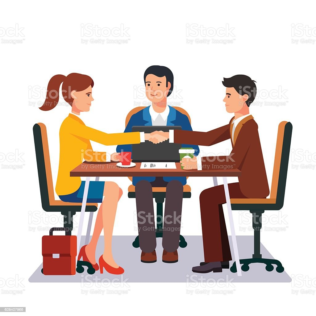 Successful business negotiations vector art illustration