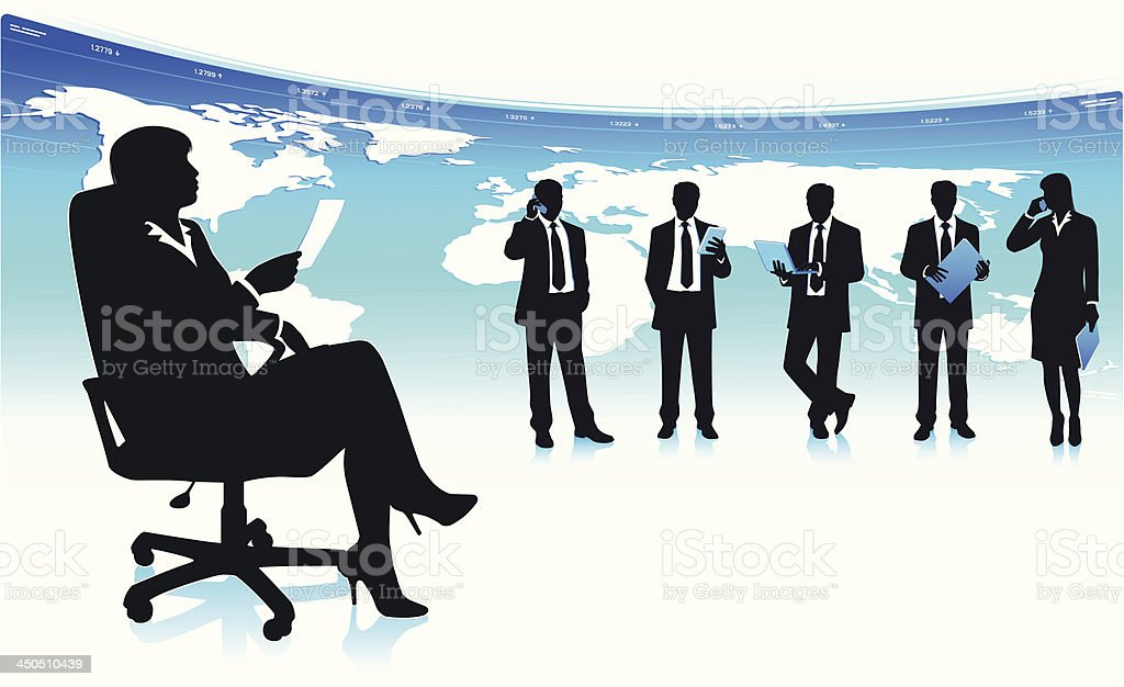 Successful business team leader vector art illustration
